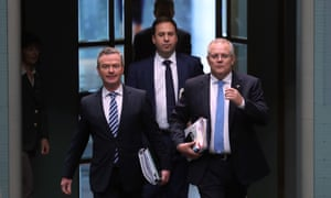 Christopher Pyne and Steve Ciobo with Scott Morrison. The frontbenchers are expected to announce their retirement.
