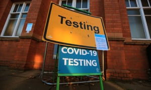 A testing centre in Leicester, where only 53% of close contacts have been reached during the second wave.