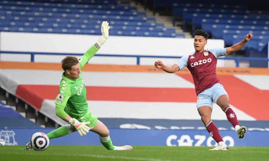 Ollie Watkins beats Jordan Pickford to open the scoring for Aston Villa.