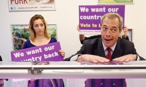 Ukip leader Nigel Farage in a butcher's shop during the 2016 leave campaign.