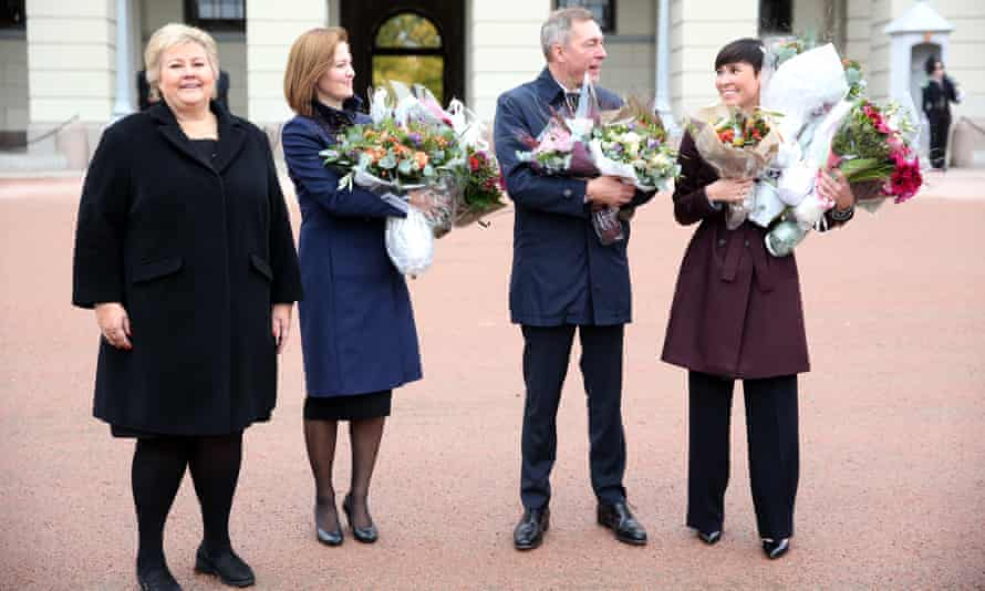 Norway's prime minister Erna Solberg with  Marit Berger Røsland (European affairs), Frank Bakke-Jensen (defence), and  Ine Eriksen Soreide (foreign affairs) in Oslo