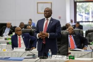 Botswanan president Mokgweetsi Masisi addresses a special parliamentary meeting in Gaborone, Botswana, on Wednesday