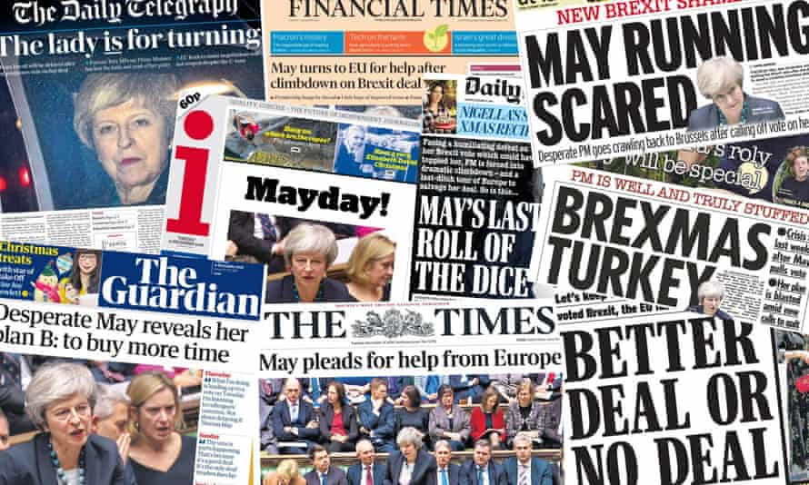 Front pages of the UK papers on 11 December 2018, after Theresa May defers a vote on Brexit in the House of Commons.