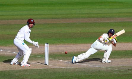Burns plays a shot on his way to 90 not out.