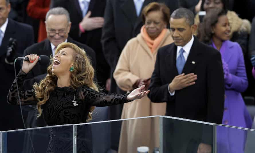 Lip-sync battle: President Barack Obama, right, as Beyonce sings the National Anthem at the ceremonial swearing-in
