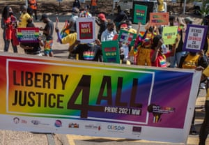People march on the streets of Lilongwe, the capital of Malawi, in the country's first Pride parade