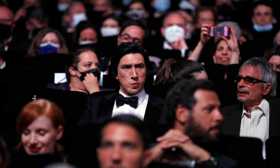 Adam Driver and Carax in the audience ahead of the Annette premiere.