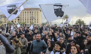 A demonstration in Ajaccio before Emmanuel Macron's visit