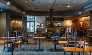 An empty bistro area in a Melbourne pub. Restaurants and cafes must close throughout Australia except for takeaway, as part of the shutdown announced by prime minister Scott Morrison to tackle the coronavirus outbreak.