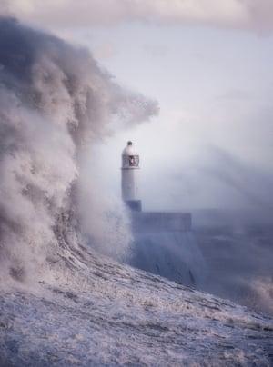 Storm Ophelia, Porthcawl Pier, Bridgend, south Wales