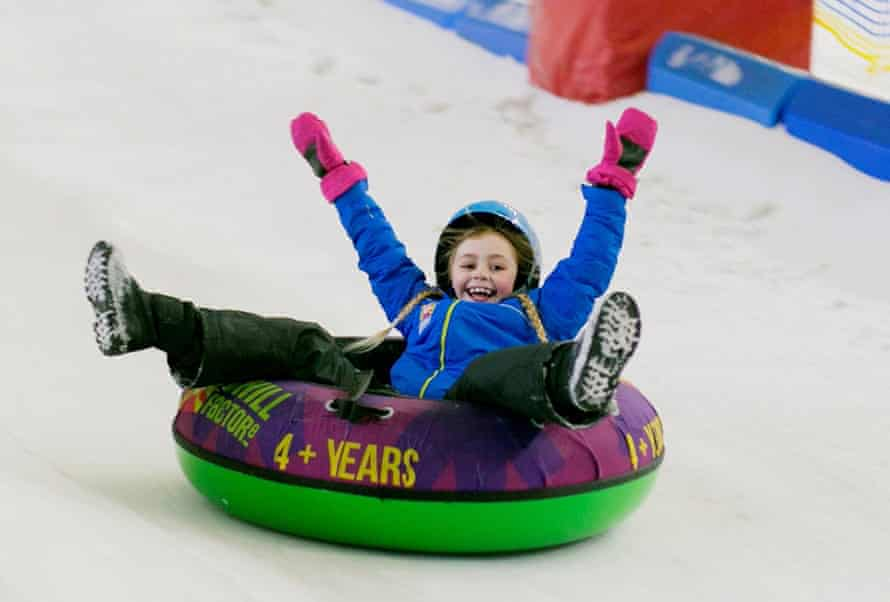 Girl sliding at Chill Factore, Manchester