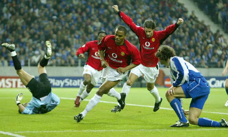 Quinton Fortune, pictured after scoring for Manchester United against Porto in 2004, is part of the Under-23 staff.