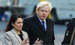 Boris Johnson and Priti Patel visit the crime scene near London Bridge