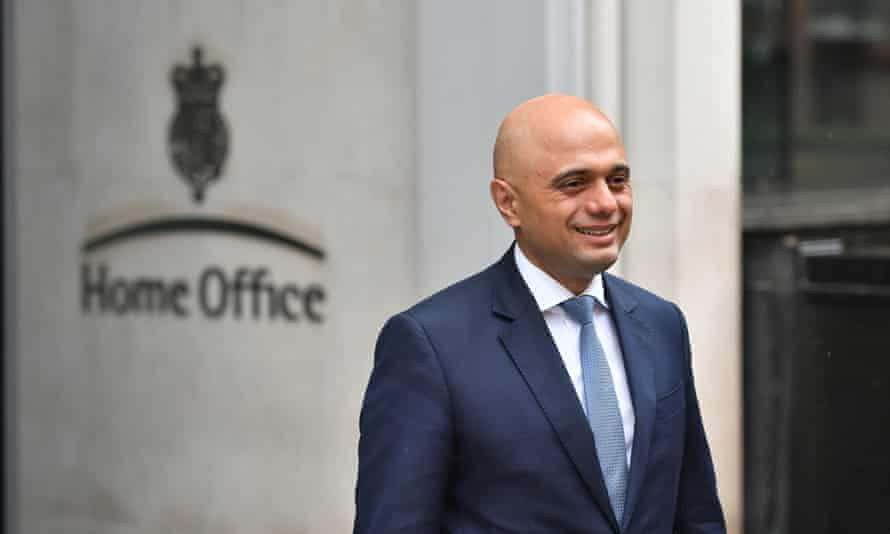 Sajid Javid outside the Home Office in Westminster, London, after he was appointed as the new home secretary.
