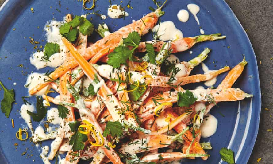 Yotam Ottolenghi's carrot salad with yoghurt, cinnamon and herbs.