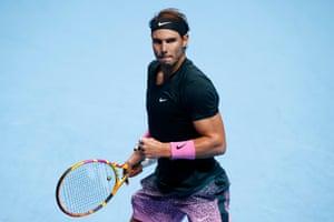 Rafael Nadal celebrates winning the first set.