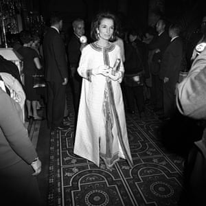 Lee Radziwill arriving at Truman Capote's Black and White Ball at the Plaza Hotel in New York City in November 1966