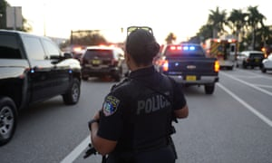 The scene around Marjory Stoneman Douglas High School in Parkland, Florida following a mass shooting on 14 February 2018.