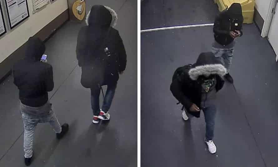 Composite of CCTV images of two men suspected of carrying out an antisemitic attack on a rabbi in north London