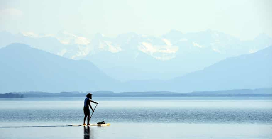 A paddle boarder
