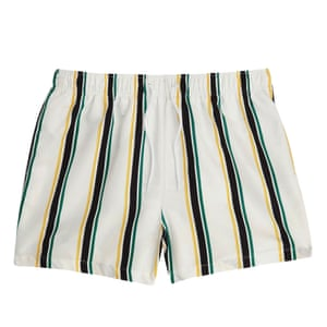 white swimshorts with yellow black green stripes River Island