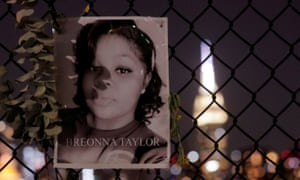 A makeshift memorial for Breonna Taylor in the Brooklyn borough of New York.
