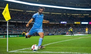 Andrea Pirlo takes a corner during NYC FC's 2-2 draw with FC Dallas. His team-mate Frank Lampard is missing for three to four weeks with a calf injury.