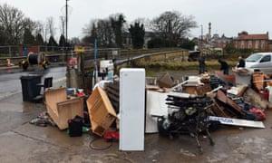 Dumped flood damaged furniture in Tadcaster, North Yorkshire