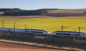 A TGV speeds through the Burgundy countryside in France.