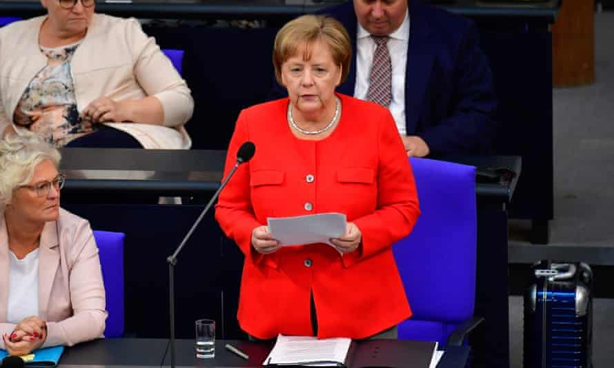 Angela Merkel responds to questions at the Bundestag on Wednesday