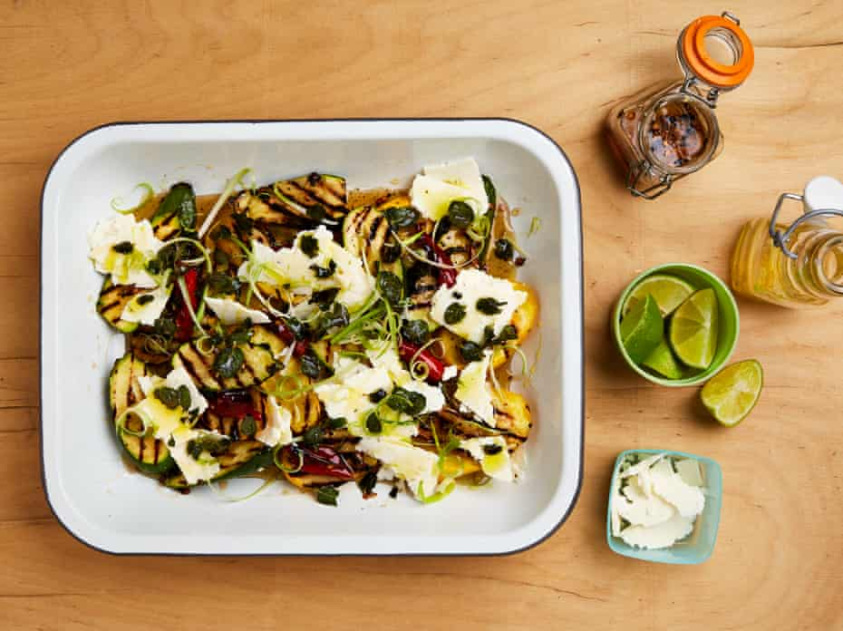 Yotam Ottolenghi's griddled courgettes with cascabel honey