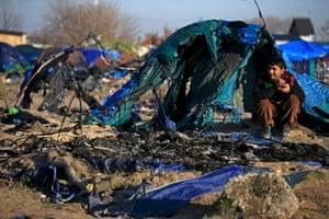 A burnt dismantled shelter