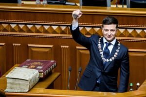 Kiev, Ukraine President-elect Volodymyr Zelenskiy takes the oath during his inauguration ceremony