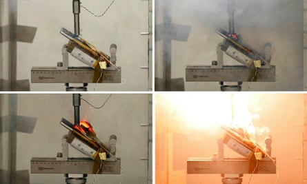 A combination photo shows a Samsung Galaxy Note 7 exploding as pressure is applied to its fully charged battery during a test at the Applied Energy Hub battery laboratory in Singapore.