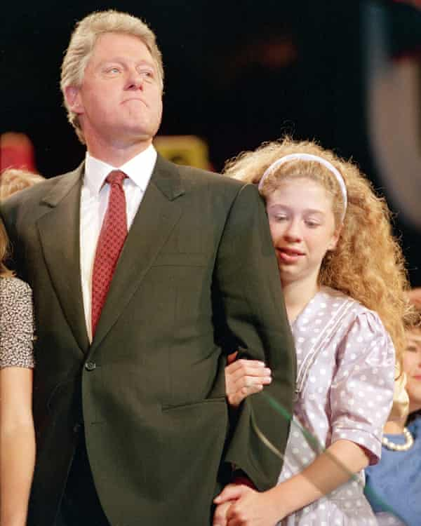 Chelsea Clinton with her father at the Democratic National Convention, 1992.