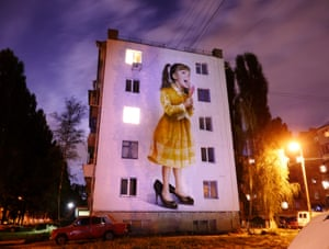 'Singing Girl' by Sasha Korban. The Ukrainian artist, who previously worked as a coal miner, fled the war in Donetsk, a city caught in the fighting between pro-Russian rebels and the Ukrainian national army