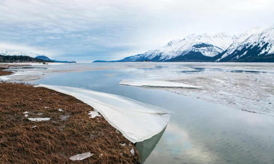 Melting ice on the Chilkat river near Haines, Alaska, in winter