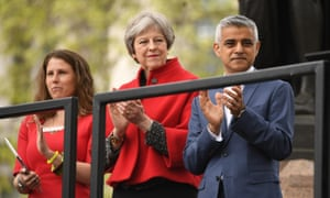 Caroline Criado Perez, Theresa May and Sadiq Khan at the unveiling of the statue in Parliament Square.