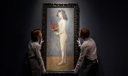 A Picasso painting of a girl holding a flower basket.