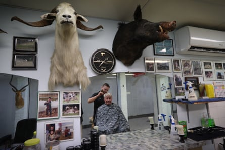 Don Baker in his barber shop