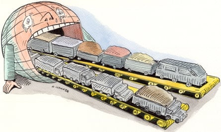 Andrzej Krauze illustration for decoupling growth from use of resources