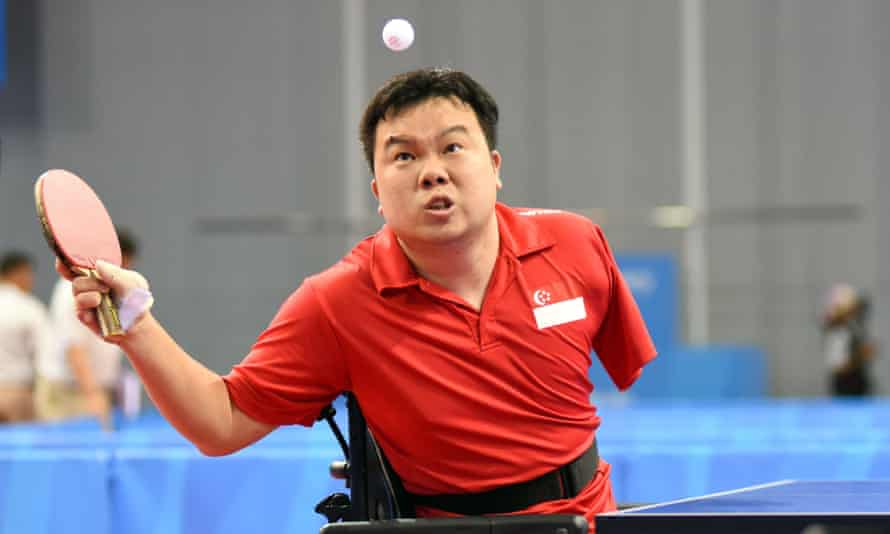 Singaporean table tennis para athlete Jason Chee during the men's singles table tennis final at the 8th Asean Para Games in Singapore.