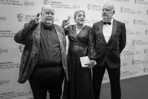 Daisy May Cooper with her father Paul Cooper who was attending on behalf of Charlie Cooper, who was nominated for his comedy performance in This Country along with Daisy, with uncle Trevor Cooper