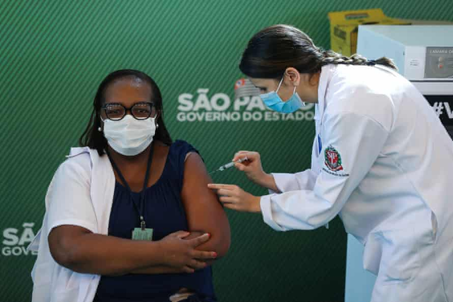 Monica Calazans received the first vaccination against coronavirus in Brazil, on 17 January 2021.