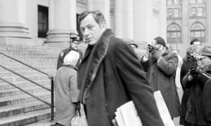 """Clifford Irving entering court in New York in March 1972. He lost his gamble that Howard Hughes was too ill and too reclusive to unmask his """"authorised"""" biography."""