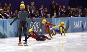 'Doing a Bradbury': Australia's first winter gold medal winner, Steven Bradbury, crosses the line after the other competitors had fallen at the 2002 games in Salt Lake City.