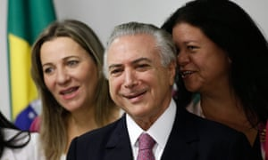 Michel Temer meets with legislators Laura Carneiro, rightm and Dulce Miranda, left, during a meeting with female deputies who support his government.