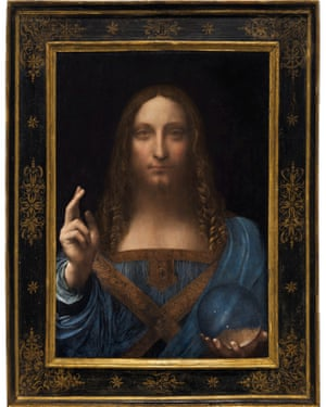 Salvator Mundi, an ethereal portrait of Jesus Christ.