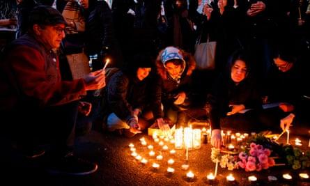 A vigil in front of the Amirkabir University in Tehran
