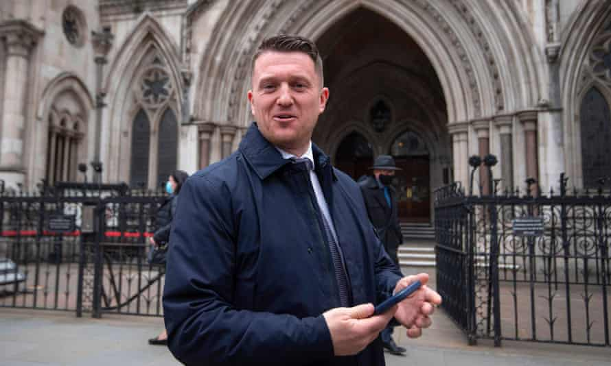Tommy Robinson  outside the Royal Courts of Justice in London for the libel case brought against him by Jamal Hijazi